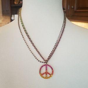 Betsy Johnson peace necklace